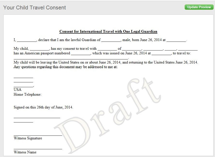 Travel Consent Form Sample. Free Child Acting Consent (Usa
